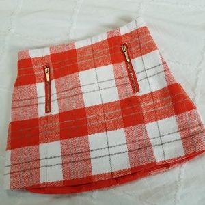 Gymboree Girls size 4 Orange & White Plaid Skirt
